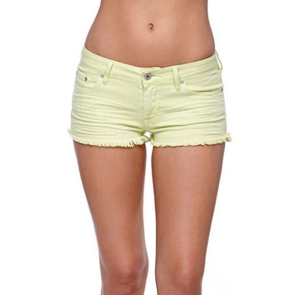 Bullhead Pants - Neon Yellow High Waisted Cheeky Booty Denim Shorts
